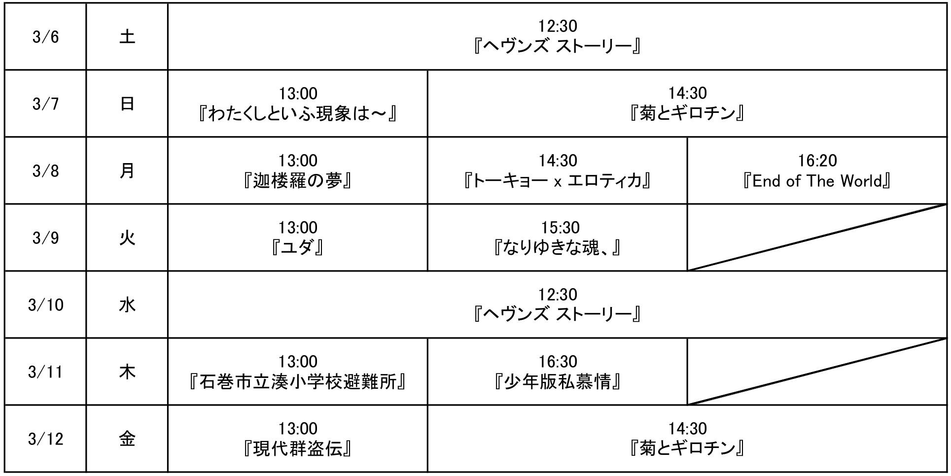 映画祭タイムテーブル